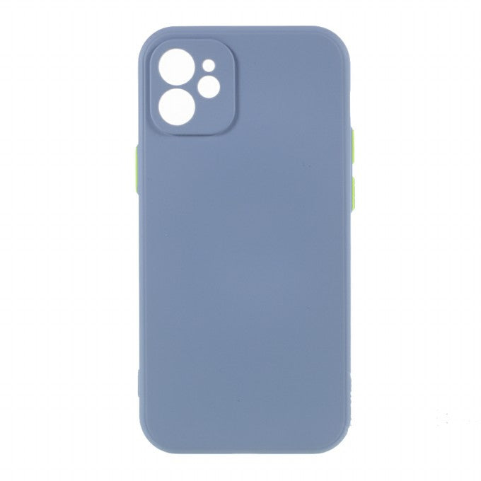 Contrast Color Button TPU Case with Soft Lint Inner for iPhone 12 Case