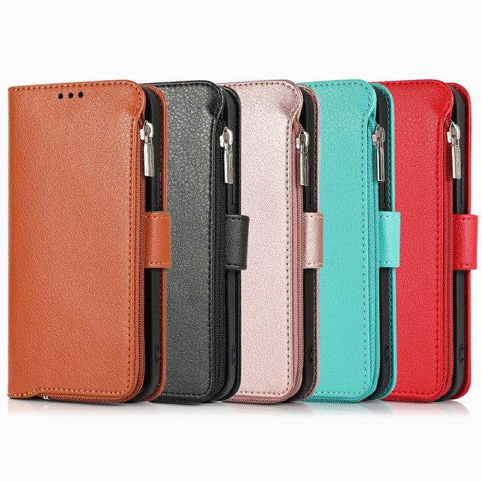 Microfiber Litchi Texture Leather Zippered Wallet Phone Protective Case for iPhone 12/12 Pro