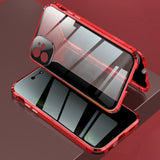 Lock Installation Metal Frame + Double Side Tempered Glass + Lens Cover Anti-peep Case for iPhone 12