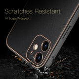 PU Leather Coated Plated PC TPU Hybrid Case for iPhone 12 6.1 inch