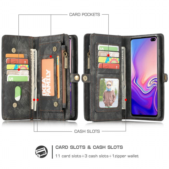 CASEME 008 Series for Samsung Galaxy S10 [Detachable 2-in-1] Multi-functional Wallet Split Leather Phone Case