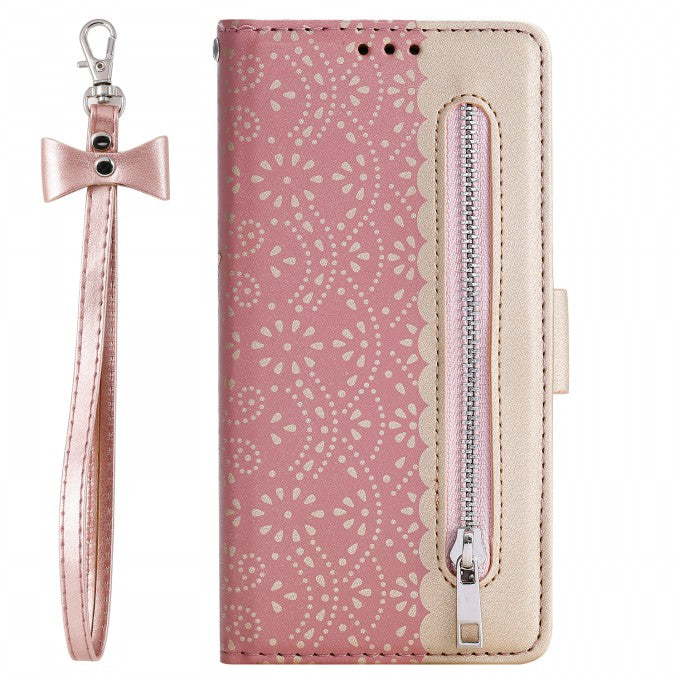 Wallet Lace Flower Pattern Zipper Pocket Leather Phone Case for Samsung Galaxy S10