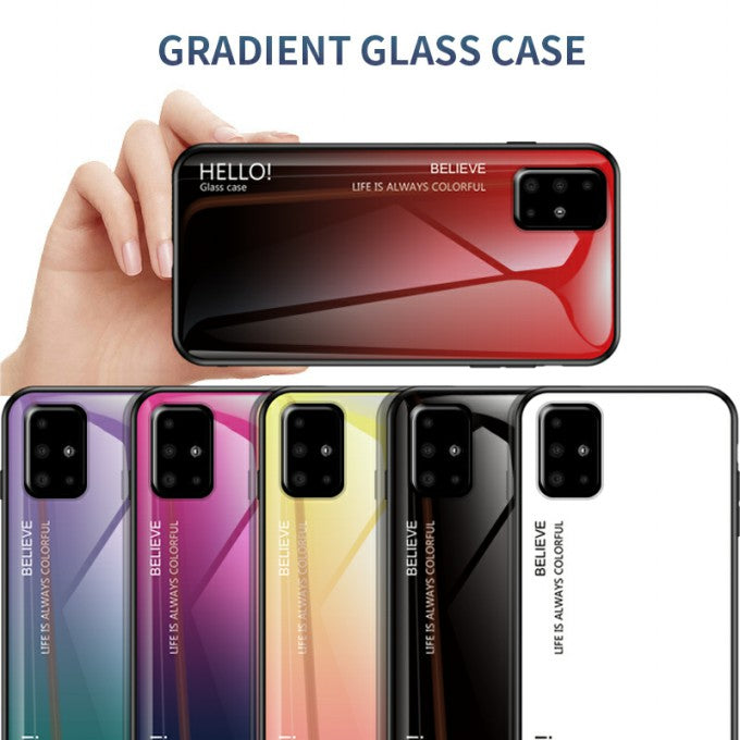 Gradient Color Tempered Glass + PC + TPU Protective Case for Samsung Galaxy A51