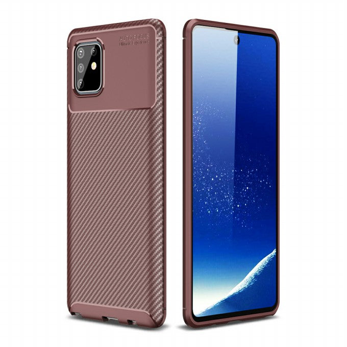 Carbon Fiber Texture TPU Protective Case for Samsung Galaxy A81