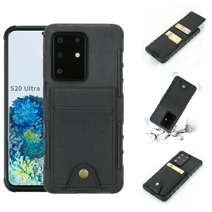 SHOUHUSHEN Leather Coated TPU Shell Case with Card Slots for Samsung Galaxy S20 Ultra