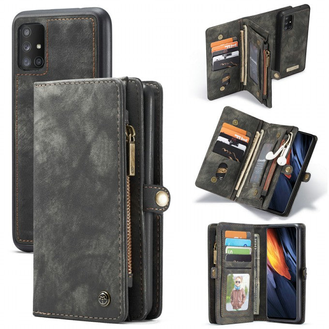 CASEME 008 Series for Samsung Galaxy A71 SM-A715 TPU Multi-slot Wallet Vintage Split Leather Phone Case