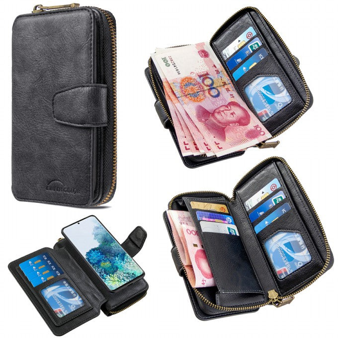 BF001 Zipper Wallet Leather Phone Case Cover Shell for Samsung Galaxy S20 Plus
