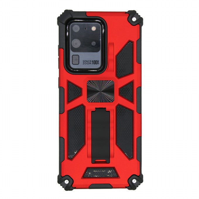 Kickstand Armor Dropproof PC TPU Hybrid Shell with Magnetic Metal Sheet for Samsung Galaxy S20 Ultra