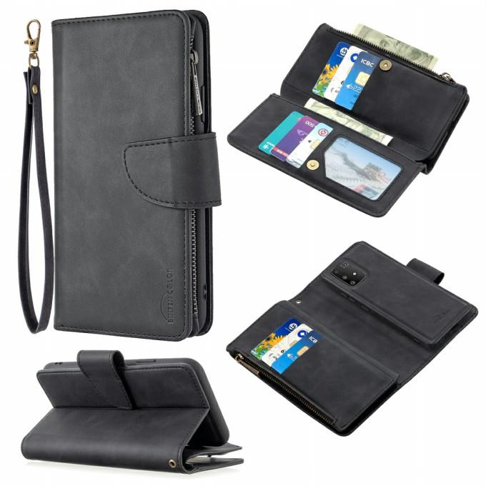 Zipper Pocket Detachable 2-in-1 Leather Wallet Stand Phone Shell for Samsung Galaxy A91 / S10 Lite