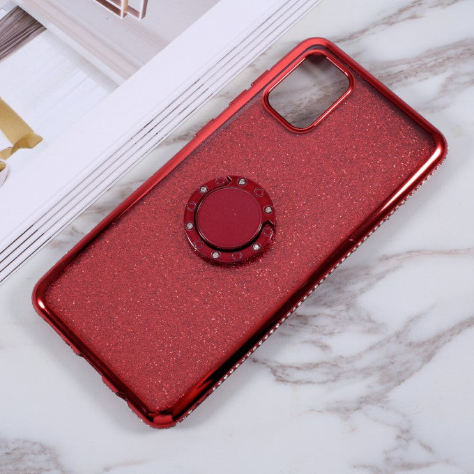 Glittery Powder Design TPU Phone Case with Metal Kickstand for Samsung Galaxy A31