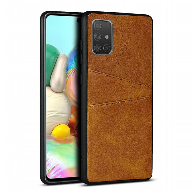 Dual Card Slots PU Leather Coated TPU Phone Cover for Samsung Galaxy A71 SM-A715