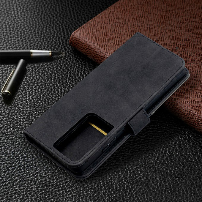 Geometric Texture Leather Protective Phone Case for Samsung Galaxy S21 Ultra