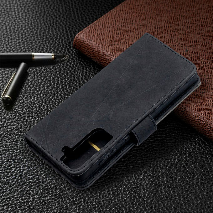 Geometric Texture Wallet Stand Leather Case for Samsung Galaxy S21