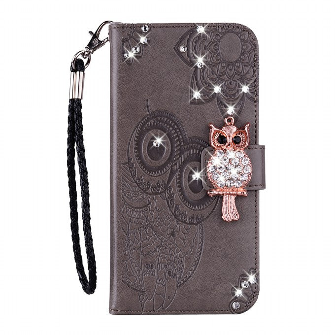 Owl Imprint Rhinestone Decor Leather Phone Case for Samsung Galaxy S21+