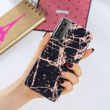 Marble Pattern Rose Gold Electroplating IMD TPU Protector for Samsung Galaxy S21