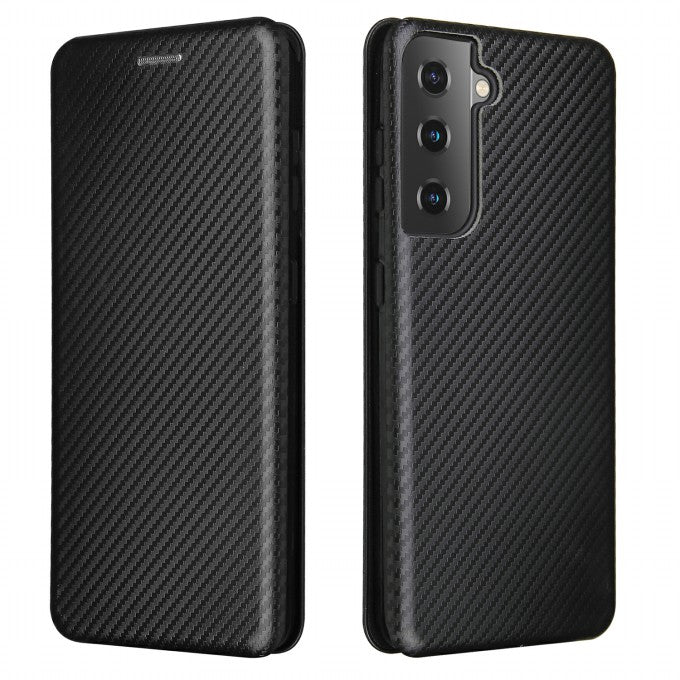 Carbon Fiber Auto-absorbed Leather Case with Card Holder For Samsung Galaxy S21