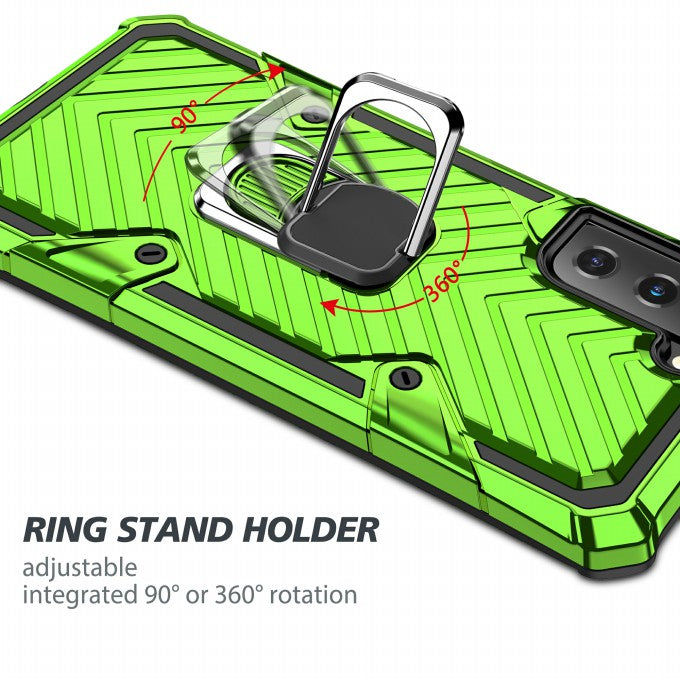PC + TPU + Metal Hybrid Case Rotatable Kickstand Phone Case for Samsung Galaxy S21+