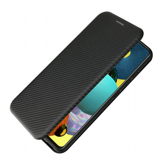 Card Holder Carbon Fiber Leather Phone Case for Samsung Galaxy A52 5G