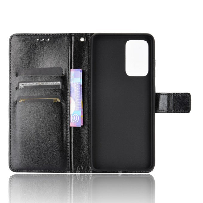 Crazy Horse Texture Wallet Stand Protection Leather Case for Samsung Galaxy A72 5G
