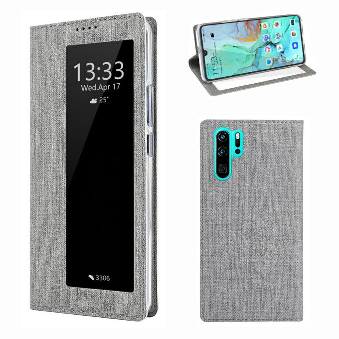 cross texture Card Slot VILI DMX Cross Texture View Window Leather Phone Case for Huawei P3Pro