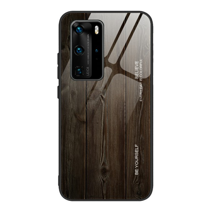 Wood Grain Pattern TPU+Tempered Glass Protective Case for Huawei P4Pro