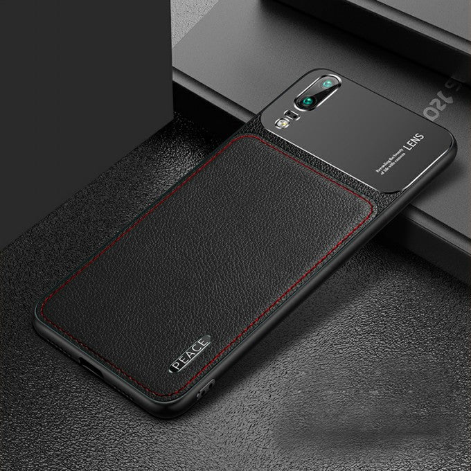 PU Leather Coated PC Metal Back Cell Phone Case for Huawei P20