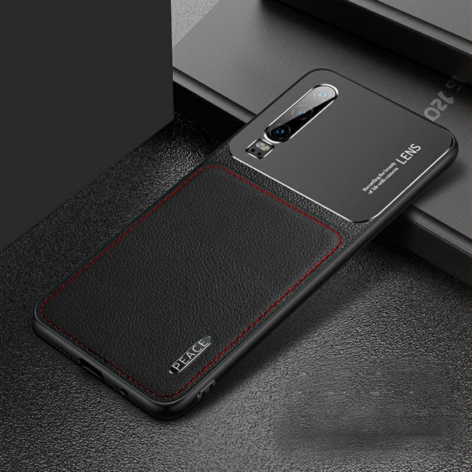 PC+PU Leather with Matte Metal Back Phone Cover Case for Huawei P30