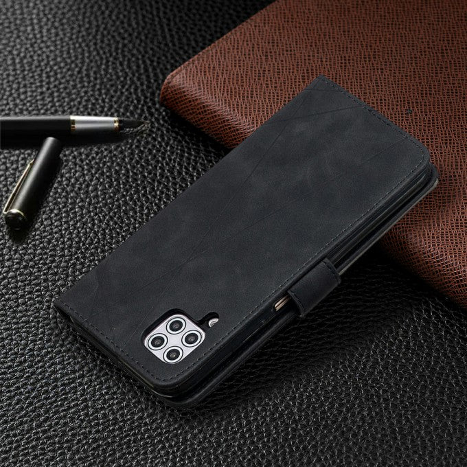 Leather Case Geometric Texture Wallet Stand Phone Protector Case for Huawei P40 lite 4G