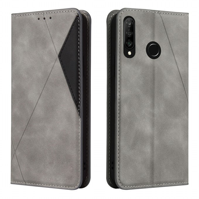 Geometric Splicing Card Slots Stand Leather Case for Huawei P30 Lite