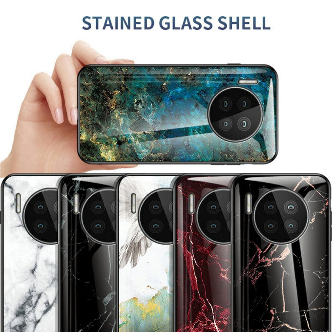 Tempered Glass Cell Phone Hybrid Case with Marbling Pattern for Huawei Mate 40