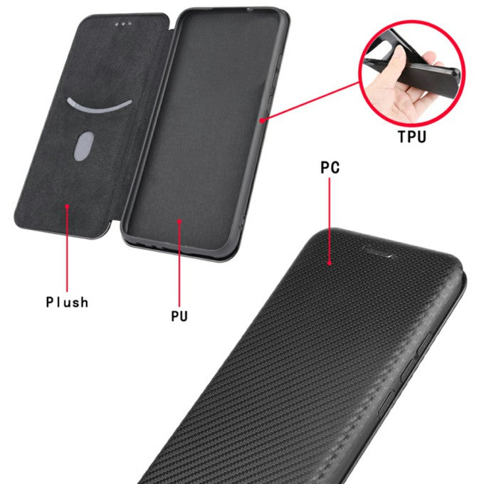 Carbon Fiber Leather Auto-absorbed Case with Card Holder for Huawei Mate 40 Pro