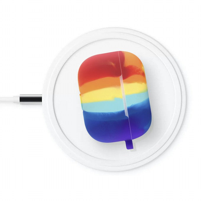 Rainbow Pattern Silicone Earphone Case with Hanging Buckle for Apple AirPods Pro