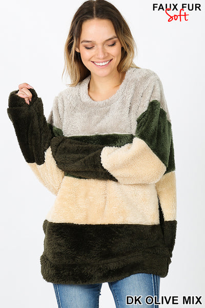 FAUX FUR COLOR BLOCK PULLOVER