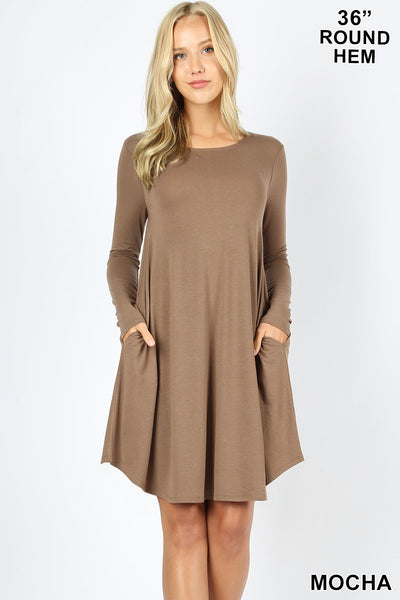 LONG SLEEVE ROUND HEM A-LINE DRESS WITH SIDE POCKETS