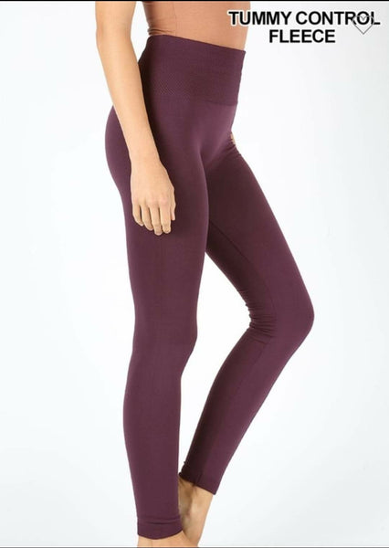 HIGH WAIST DIAMOND SHAPE BAND FLEECE LEGGINGS