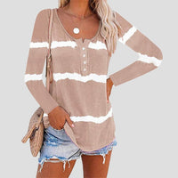 BUTTON STRIPED LONG SLEEVE TOP