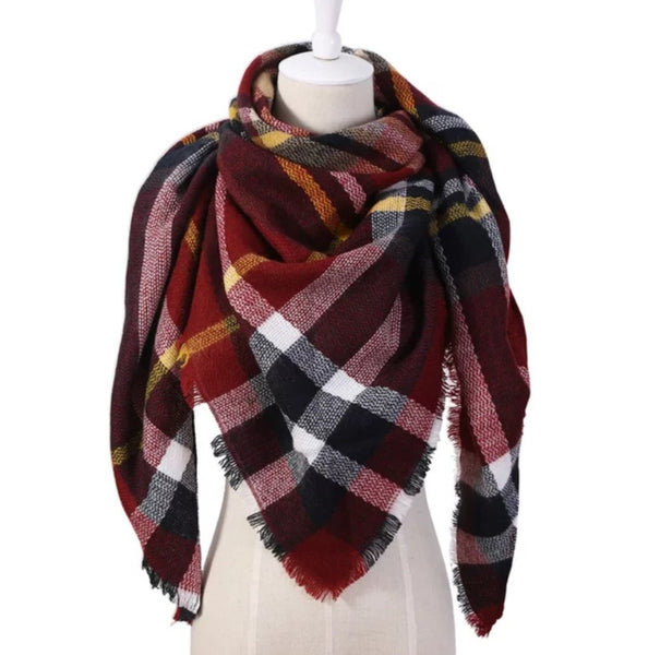 TRIANGLE PLAID SCARF