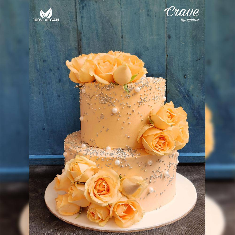 Peachy Wedding Cake - Crave