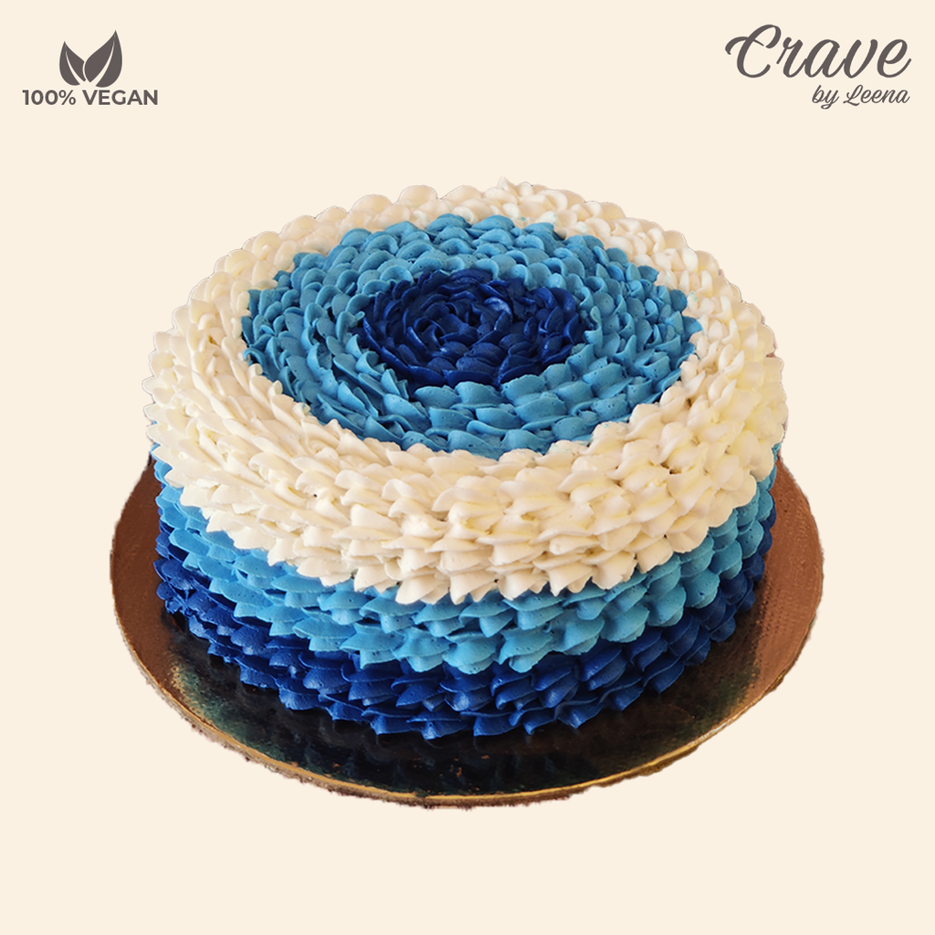 Blue and White Buttercream Cake - Crave
