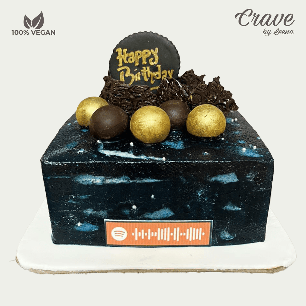 Modern Galaxy Cake with Spotify Music Code - Crave
