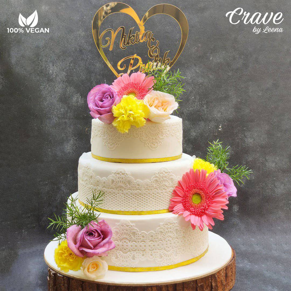 3 Tier Lace Wedding Cake - Crave