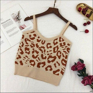 Knitted Stretchy Leopard Cropped Tank