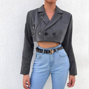 2 Buttons Cropped Coat