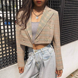 Double-Breasted Plaid Crop Blazer