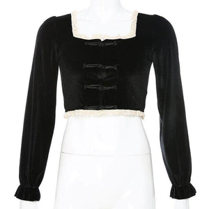 Chinese Style Long Sleeve Lace Patchwork Velvet Crop Top