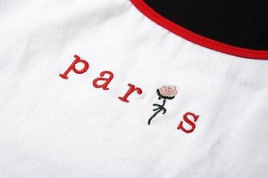 Spaghetti Strap Embroidery Paris Crop Top