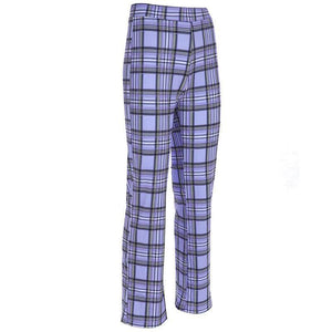 Purple Retro Plaid Pants