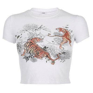 Ribbed Tight Tiger Crop Top
