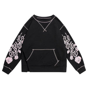 Long Sleeved Floral Slatched Sweatshirt