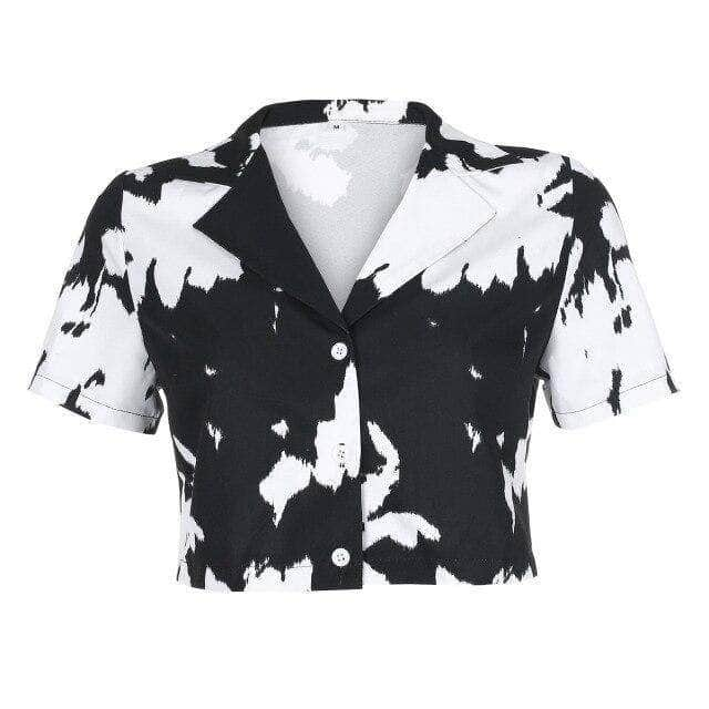 Black And White Cropped Shirt